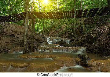 Old suspension bridges over the Small waterfall