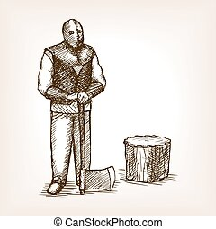Executioner ax sketch style vector illustration -...