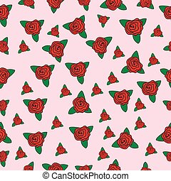 Seamless floral textile design with small flowers roses