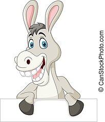 Cartoon funny donkey holding blank