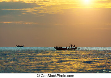 Minimal image of fishing boat on the sea.