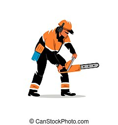 Vector Woodcutter with chainsaw Cartoon Illustration. - The...