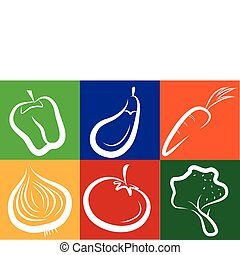 white vegetable icons on colorful background