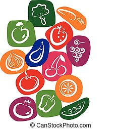 white vegetable and fruit icons on colorful background,...