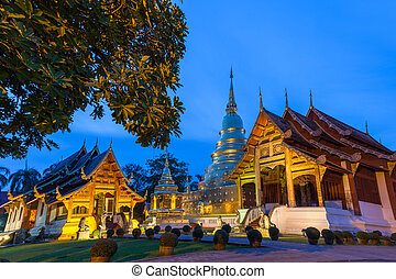 Dusk View of the Wat Phra Singh, Chiang Mai, Thailand - Dusk...