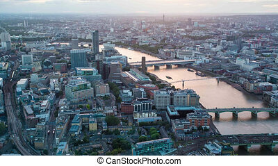 Aerial view of central London - west view from The Shard