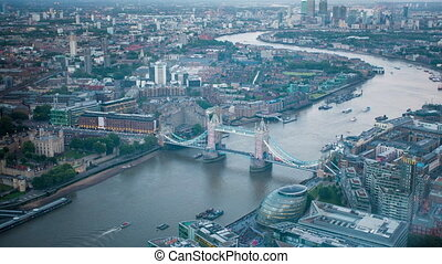 London tower bridge aerial view - aerial london landmark...