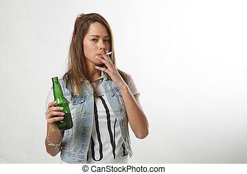 Teenage doing illegal activties - underage girl smoking and...
