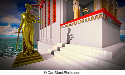 Themis in court 3d illustration - Themis in the ancient...