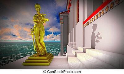 Themis, en, tribunal, 3D, Ilustración