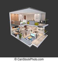 3d illustration of isometric view of a penthouse - 3d...
