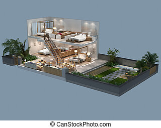 3d illustration of isometric view of a villa - 3d...