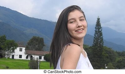 Adorable Smiling Teen Girl In Rural Area