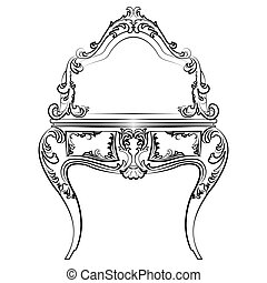 Dressing table with mirror in baroque style - Dressing table...