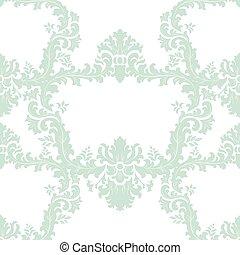 Floral Baroque ornament damask pattern - Vintage Floral...
