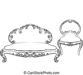 Classic royal armchair and sofa set