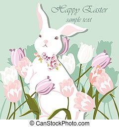Happy Easter card Illustration with bunnies
