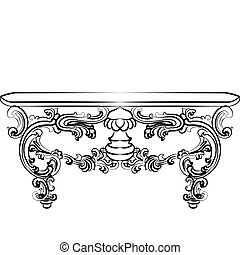Table furniture with detailed ornaments