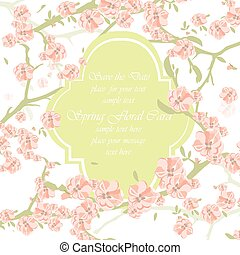 Watercolor Background with Blooming Apple Flowers - Vintage...