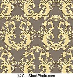 Vintage Vector Floral Baroque ornament pattern - Vintage...