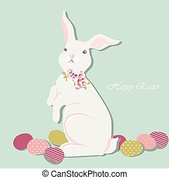 Happy Easter card Illustration with cute bunny rabbit