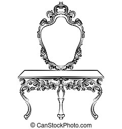 Baroque luxury style furniture. Dressing table with mirror...