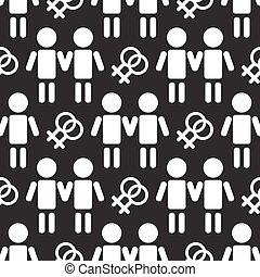 gay couple seamless pattern - Gay couple silhouettes with...