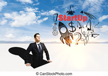 Start up concept - Businessman inside abstract keyhole...