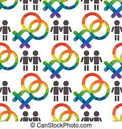 gender gay seamless - Gay couples and rainbow gender symbol...