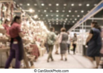 Blurred image of people shopping in supermarket use for abstract background