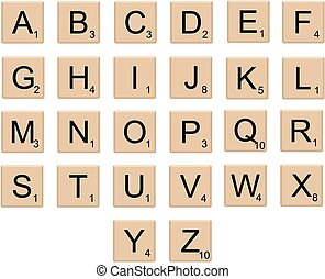 Board game alphabet letters, isolated vector
