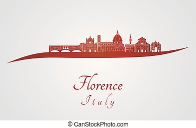 Florence V2 skyline in red - Florence skyline in red and...