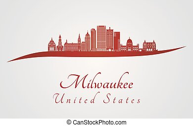 Milwaukee V2 skyline in red - Milwaukee skyline in red and...