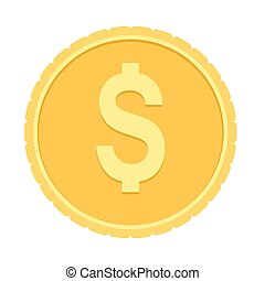 Gold coin with dollar sign. Flat color vector illustration isolated