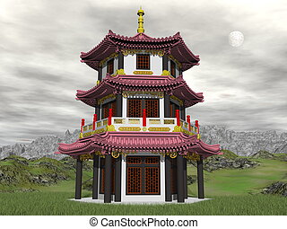 Pagoda in nature - 3D render