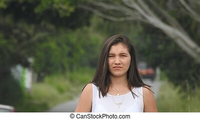 Impatient Teen Girl Waiting By Country Road