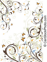 Floral background with butterfly, element for design, vector...