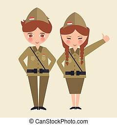 couple kids cartoon wearing freedom fighter army uniform Indonesia