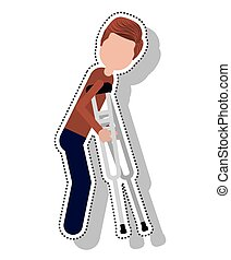 man disable in crutch isolated icon