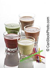 Smoothie - Fresh mixed fruit smoothies close up shoot
