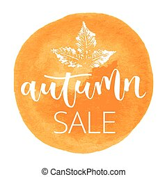 Autumn sale hand written inscription - Autumn sale white...