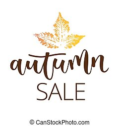 Autumn sale hand written inscription with fall chestnut leaf...