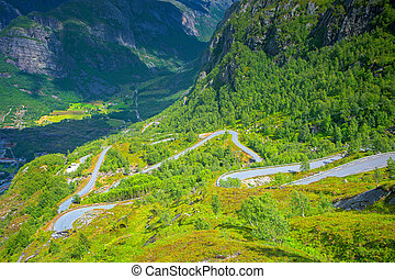 Famous dangerous road - Dangerous road in Lysebotn near...
