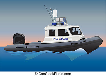 Police boat - Police coast guard motor boat on water surface...