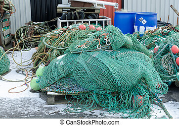 professional fishing net in the harbour