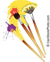 Artist Brushes with Paint - Art brushes with colorful...