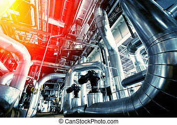 Industrial zone, Steel pipelines in blue tones - Equipment,...