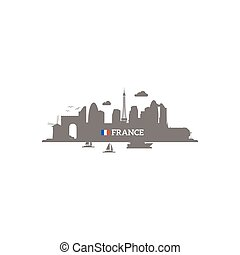 France skyline silhouette with name of country and flag....
