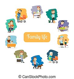 Family life and parents care for the child Vector...