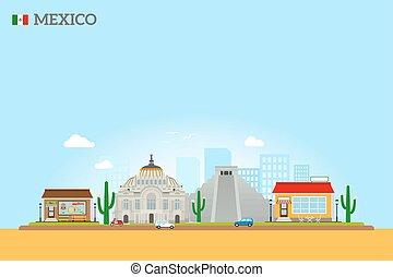 Mexico landmarks skyline colored illustration on sky blue...